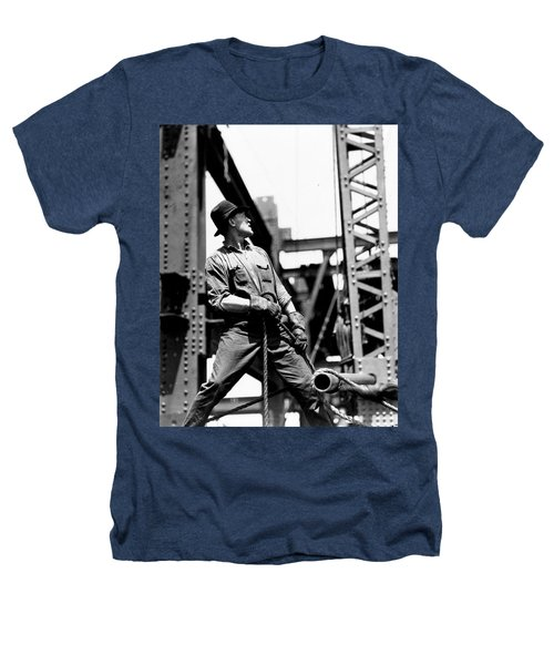 Derrick Man   Empire State Building Heathers T-Shirt by LW Hine