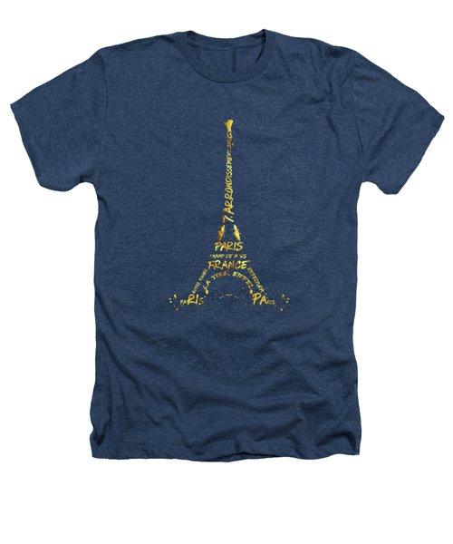Digital-art Eiffel Tower - Black And Golden Heathers T-Shirt by Melanie Viola