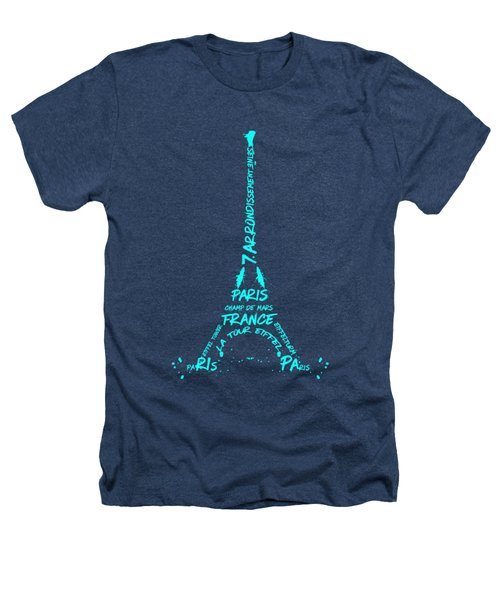 Digital-art Eiffel Tower Cyan Heathers T-Shirt by Melanie Viola