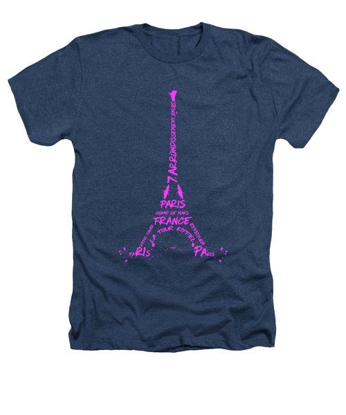 Digital-art Eiffel Tower Pink Heathers T-Shirt by Melanie Viola