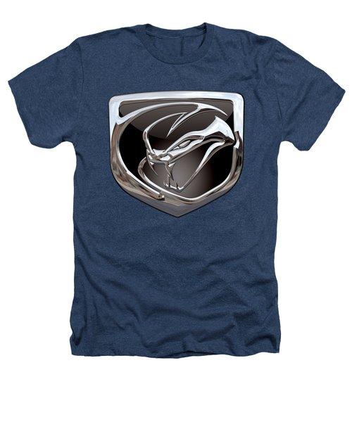 Dodge Viper - 3d Badge On Black Heathers T-Shirt by Serge Averbukh