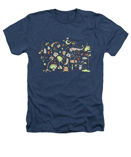 Doodle Bots Heathers T-Shirt by Dana Alfonso