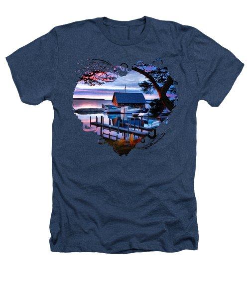 Door County Anderson Dock Sunset Heathers T-Shirt by Christopher Arndt