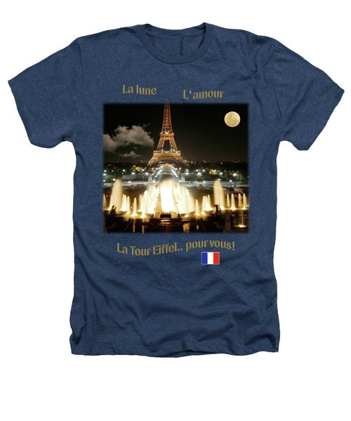 Eiffel Tower At Night Heathers T-Shirt by Jon Delorme