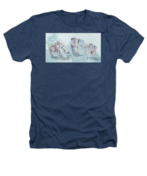 Elephants In Blue Heathers T-Shirt by Angeles M Pomata