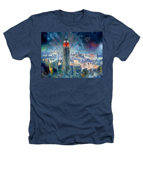 Empire State Building In 4th Of July Heathers T-Shirt by Ylli Haruni