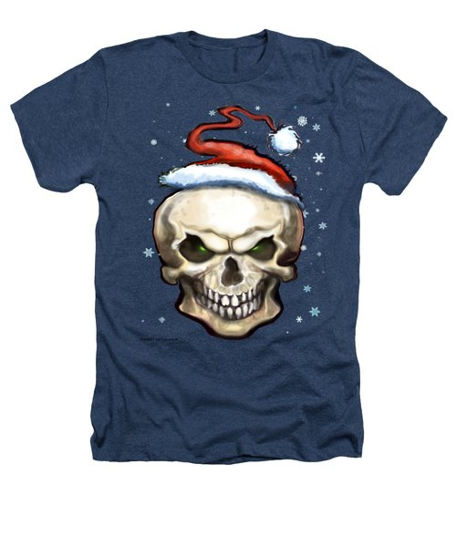 Evil Christmas Skull Heathers T-Shirt by Kevin Middleton