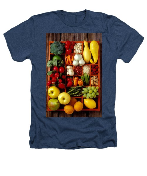 Fruits And Vegetables In Compartments Heathers T-Shirt by Garry Gay