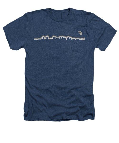 Full Moon Over Boston Skyline Black And White Heathers T-Shirt by Joann Vitali