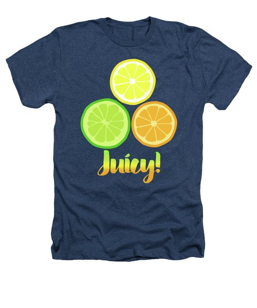 Fun Juicy Orange Lime Lemon Citrus Art Heathers T-Shirt by Tina Lavoie