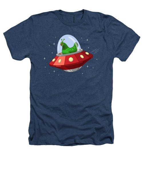 Funny Green Alien Martian Chicken In Flying Saucer Heathers T-Shirt
