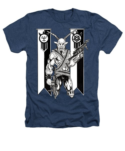Goat War Black Heathers T-Shirt by Alaric Barca
