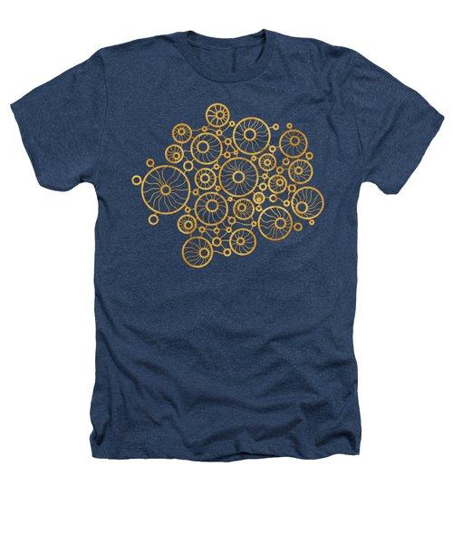 Golden Circles Black Heathers T-Shirt by Frank Tschakert