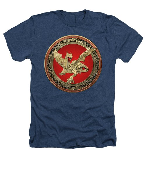 Golden Guardian Dragon Over Black Velvet Heathers T-Shirt