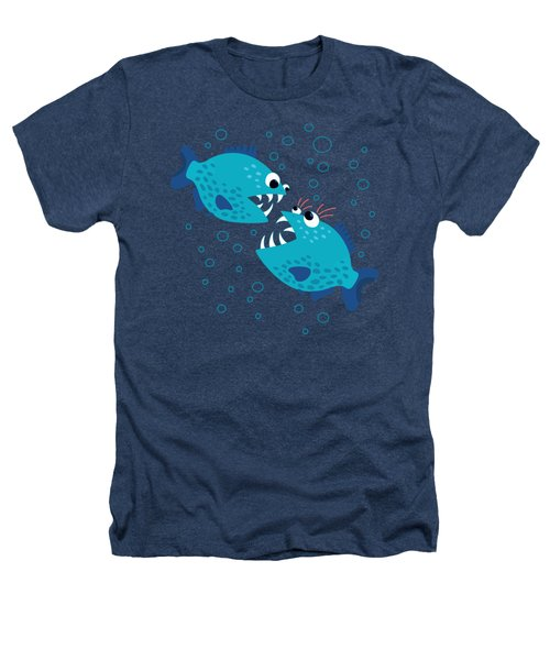 Gossiping Blue Piranha Fish Heathers T-Shirt