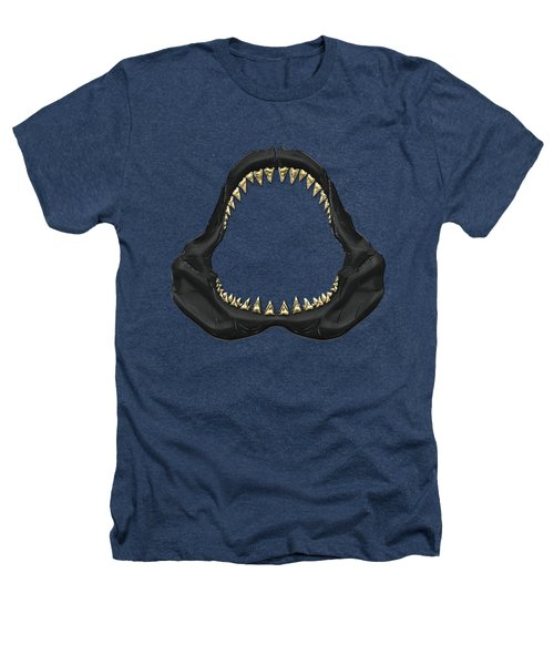 Great White Shark - Black Jaws With Gold Teeth On Black Canvas Heathers T-Shirt by Serge Averbukh