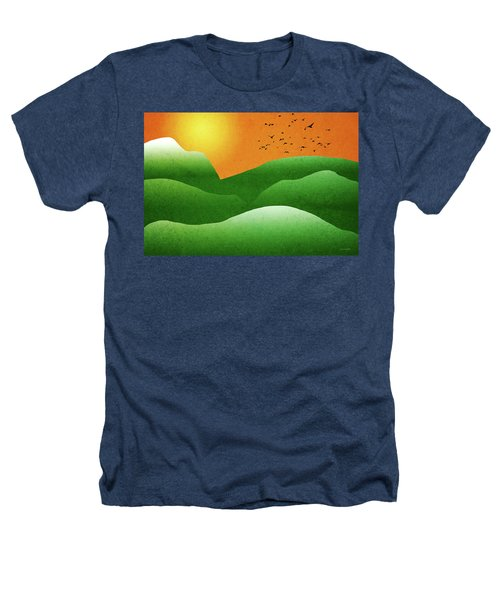 Green Mountain Sunrise Landscape Art Heathers T-Shirt