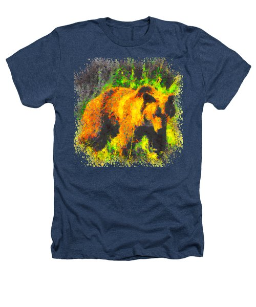 Grizzly In Field Heathers T-Shirt