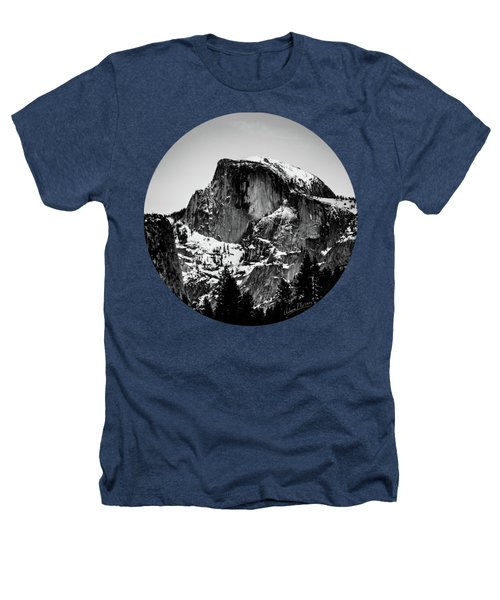 Half Dome Aglow, Black And White Heathers T-Shirt by Adam Morsa