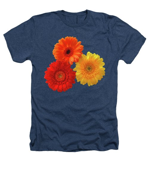 Happiness - Orange Red And Yellow Gerbera On Black Heathers T-Shirt by Gill Billington
