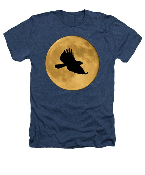 Hawk Flying By Full Moon Heathers T-Shirt