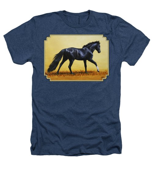 Horse Painting - Black Beauty Heathers T-Shirt by Crista Forest