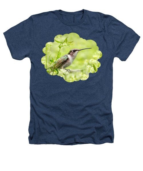 Hummingbird Hiding In Flowers Heathers T-Shirt by Christina Rollo