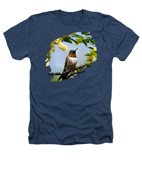 Hummingbird With Flowers Heathers T-Shirt by Christina Rollo