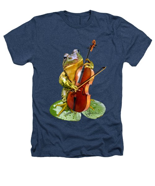 Humorous Scene Frog Playing Cello In Lily Pond Heathers T-Shirt