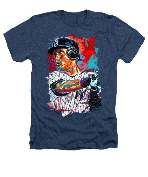 Jeter At Bat Heathers T-Shirt by Maria Arango