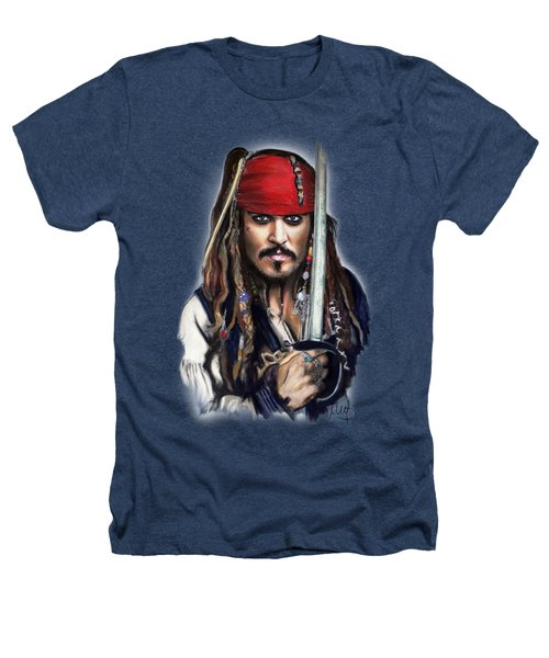 Johnny Depp As Jack Sparrow Heathers T-Shirt by Melanie D
