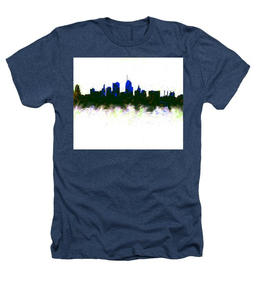 Kansas City Skyline Blue  Heathers T-Shirt by Enki Art