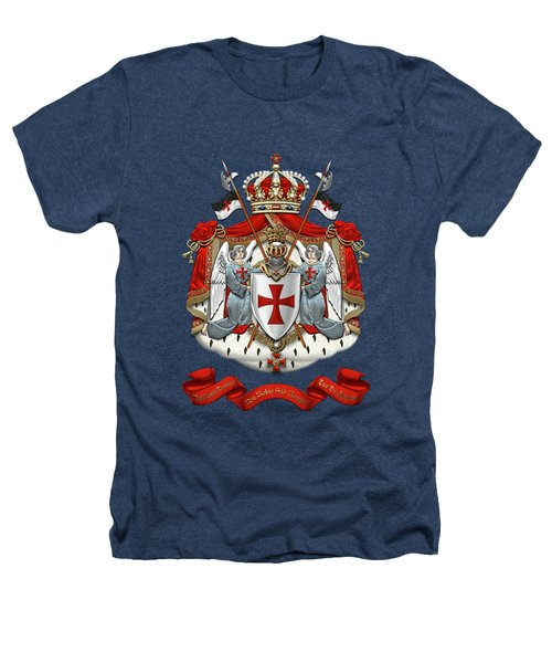 Knights Templar - Coat Of Arms Over Black Velvet Heathers T-Shirt by Serge Averbukh