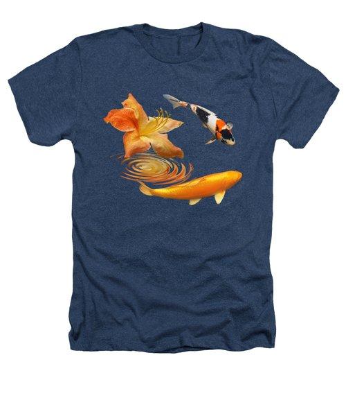 Koi With Azalea Ripples Square Heathers T-Shirt by Gill Billington