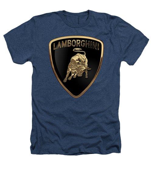 Lamborghini - 3d Badge On Black Heathers T-Shirt by Serge Averbukh
