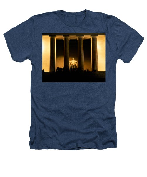 Lincoln Memorial Illuminated At Night Heathers T-Shirt by Panoramic Images