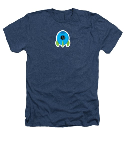 Little Blue Rocket Ship Heathers T-Shirt by Nathan Poland
