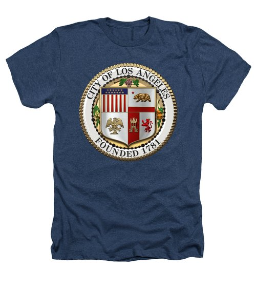 Los Angeles City Seal Over Black Velvet Heathers T-Shirt by Serge Averbukh