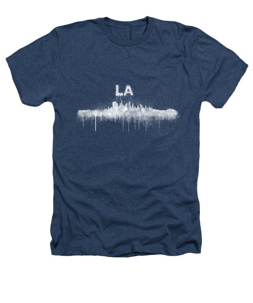 Los Angeles City Skyline Hq V5 Wb Heathers T-Shirt by HQ Photo