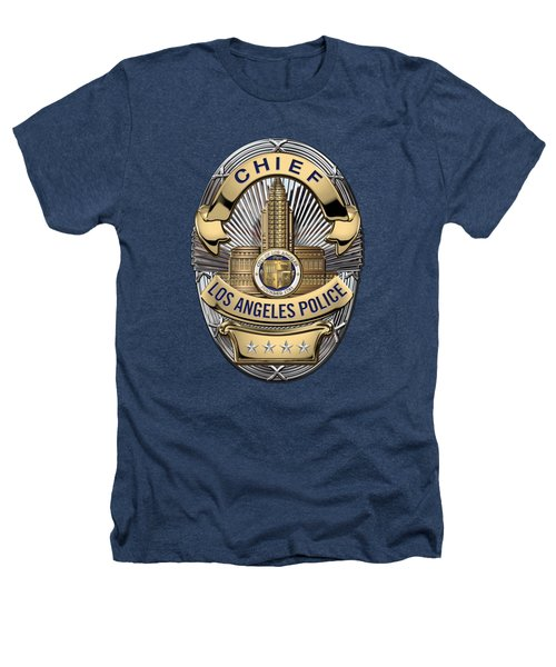Los Angeles Police Department  -  L A P D  Chief Badge Over Blue Velvet Heathers T-Shirt by Serge Averbukh