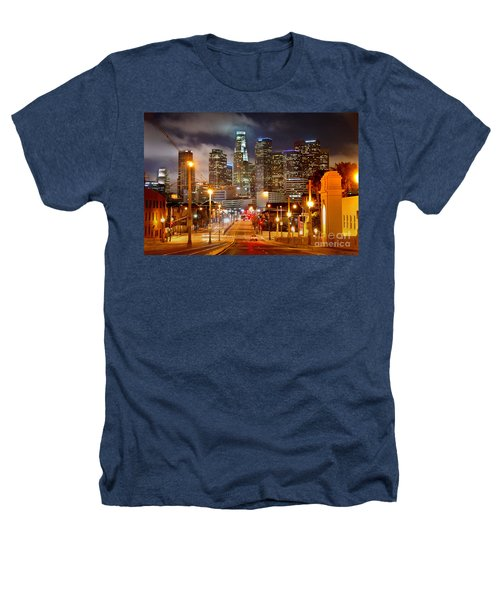 Los Angeles Skyline Night From The East Heathers T-Shirt by Jon Holiday