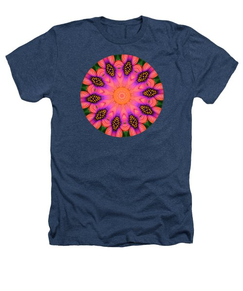 Mandala Salmon Burst Heathers T-Shirt by Hao Aiken