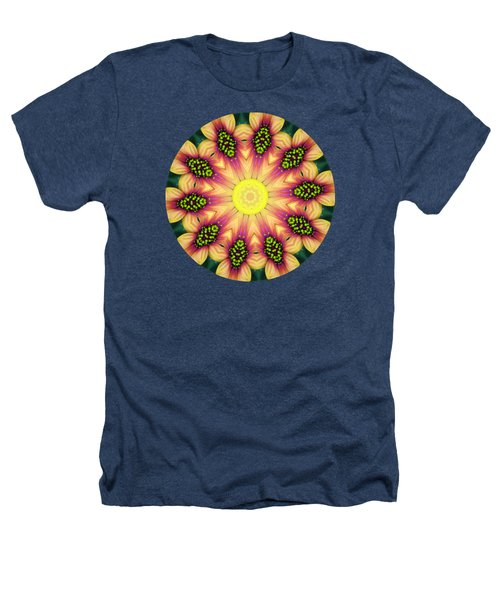 Mandala Yellow Burst Heathers T-Shirt by Hao Aiken