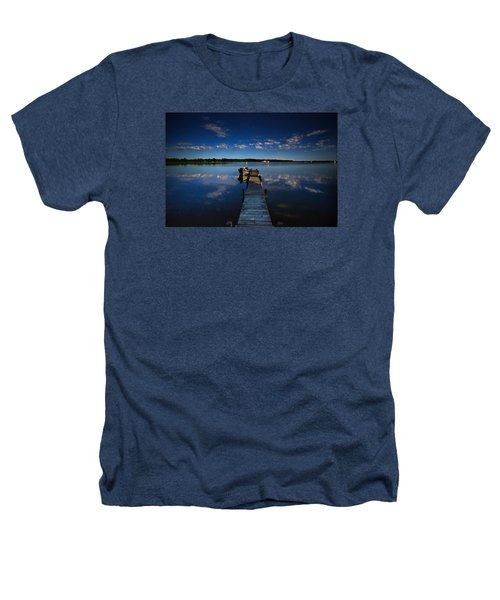 Midnight At Shady Shore On Moose Lake Minnesota Heathers T-Shirt by Alex Blondeau