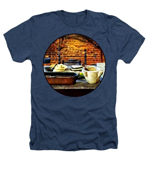 Mortar And Pestles In Colonial Kitchen Heathers T-Shirt by Susan Savad