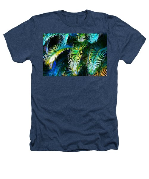 Palm Leaves In Blue Heathers T-Shirt by Karon Melillo DeVega