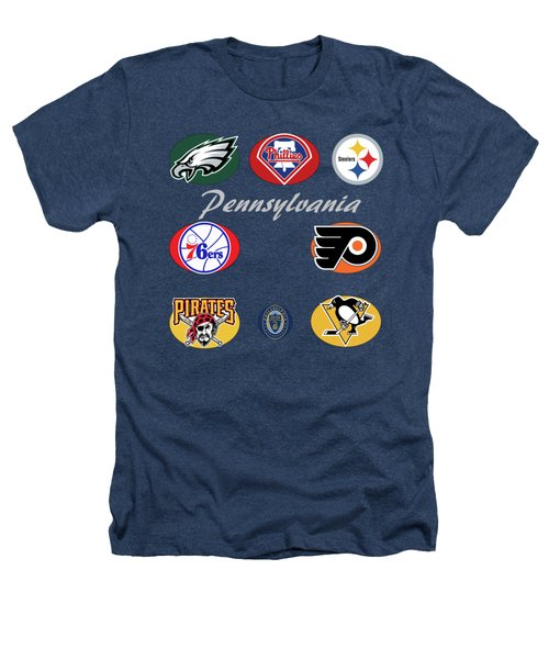 Pennsylvania Professional Sport Teams Collage  Heathers T-Shirt
