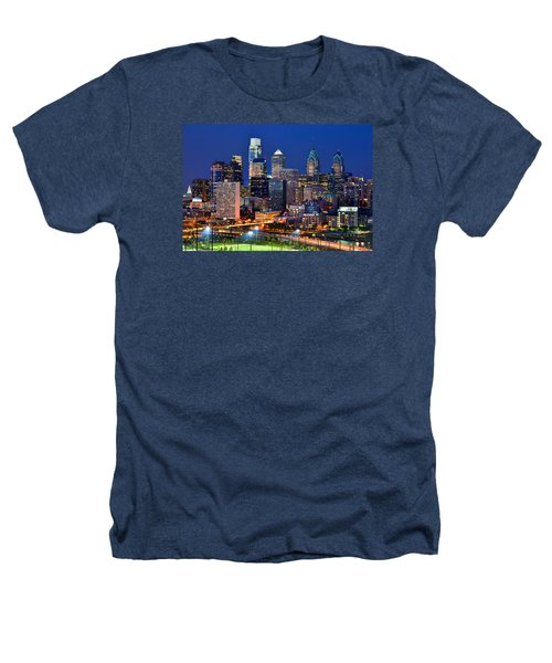 Philadelphia Skyline At Night Heathers T-Shirt by Jon Holiday