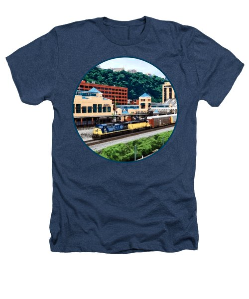 Pittsburgh Pa - Freight Train Going By Station Square Heathers T-Shirt by Susan Savad