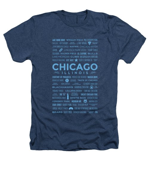 Places Of Chicago Blue On Black Heathers T-Shirt by Christopher Arndt